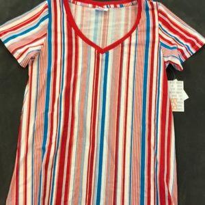 Lularoe Christy T Stripe Print Red White Blue NWT
